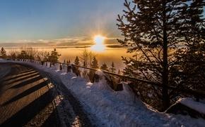 Картинка дорога, облака, снег, закат, дерево, road, sunset, clouds, snow, tree, защита барьер дороги, road protection …
