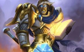 Картинка молот, арт, герой, книга, WoW, World of Warcraft, паладин, Hearthstone, Утер Светоносный, Uther the Lightbringer