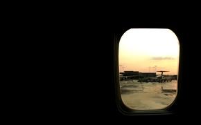Обои самолет, иллюминатор, аэропорт