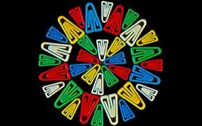 Картинка фон, узор, краски, круг, скрепки