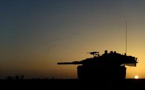 Картинка закат, оружие, танк