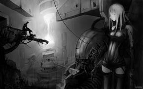 Картинка будущее, робот, киборг, киберпанк, Blame!, Блам!, monochrome