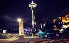 Картинка ночь, город, фары, bmw, бмв, бумер, e38, Seattle, 750il