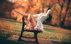Картинка осень, девушка, парк, ножки, скамья, Freedom, Laurent KC