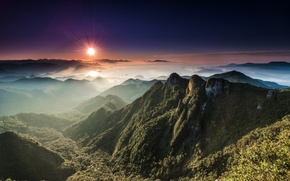 Обои горы, солнце, долина, панорама, пейзаж