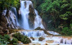 Картинка водопад, waterfalls, Kuang Si Falls