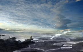 Картинка небо, облака, полет, пейзаж, птицы, природа, люди, красота, живопись, любование