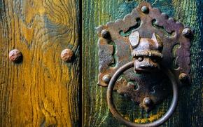 Картинка металл, текстура, дверь, ручка