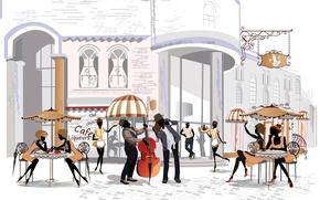 Картинка девушки, улица, здание, площадь, кафе, парни, столики