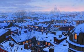 Обои cathedral, Лушпин, snow, зима, Исаакиевский, St Petersburg roofs, St Petersburg, крыши, Saint Isaac's cathedral, roofs, ...