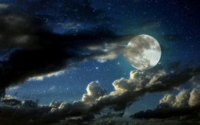 Картинка night, full moon, Clouded moon