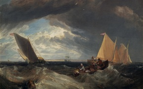 Картинка пейзаж, река, лодка, картина, парус, Уильям Тёрнер, The Junction of the Thames and the Medway