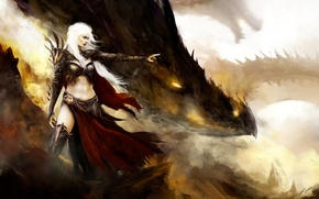 Картинка девушка, дракон, арт, профиль, Daenerys Targaryen