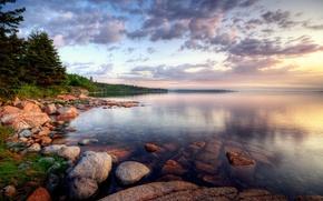 Обои облака, озеро, Берег, камни