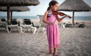 Обои девочка, скрипка, музыка