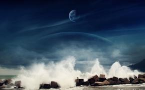 Картинка море, вода, камни, луна, Dreamy World