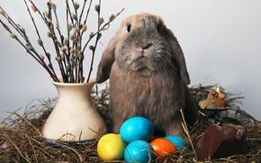 Картинка свеча, яйца, кролик, пасха, солома, верба