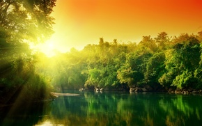 Картинка вода, солнце, деревья, отражение, красочно