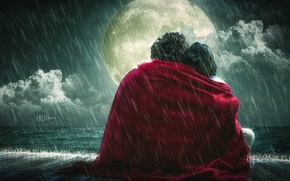 Обои луна, одеяло, романтика, влюбленные, дождь, чувства