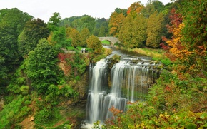 Картинка осень, лес, деревья, мост, парк, река, водопад