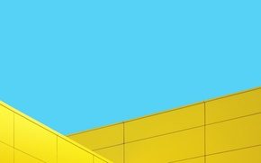 Картинка Blue, Wallpaper, Yellow, Original, Stock, Minimalistic