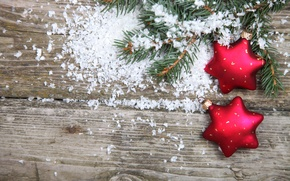Картинка снег, ёлка, ёлочные игрушки