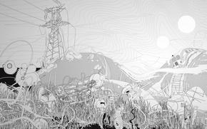 Картинка черно-белая, линии, пейзаж