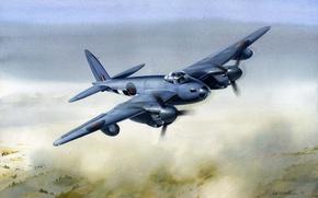 Картинка war, art, painting, drawing, ww2, british airplane, de havilland mosquito