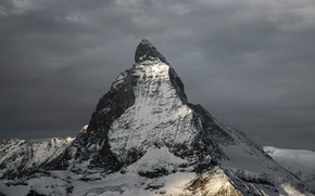 Картинка снег, рассвет, гора, вершина, пик, Matterhorn