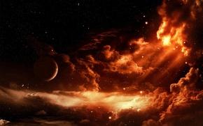 Обои планета, звезды, Облака