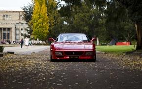 Картинка осень, листья, люди, здания, день, перед, Ferrari, red, феррари, красная, old, старая, old school, 348, ...
