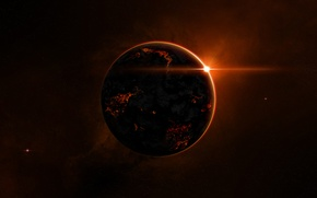 Картинка звезды, огонь, планета