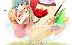 Картинка девушка, бабочка, аниме, тату, клубника, арт, мороженое, фрукты, Hatsune Miku, Vocaloid, Вокалоид, печенька, вишенки, marirero …