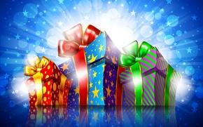 Картинка ленты, праздник, подарки, боке