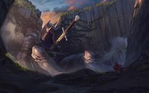 Обои скалы, человек, меч, доспехи, арт, рыцарь