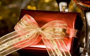 Картинка праздник, коробка, подарок, новый год, лента, new year, бантик, упаковка, gift, holiday
