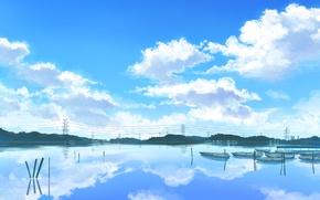 Картинка река, лодки, облачное небо