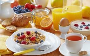 Картинка чай, яйцо, яблоко, апельсин, молоко, печенье, черника, клубника, сок, ложка, кружка, стаканы, напиток, лимоны, джем, ...