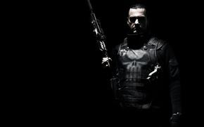 Картинка пистолет, оружие, черный фон, броник, Рэй Стивенсон, Ray Stevenson, Punisher: War Zone, Каратель: Территория войны