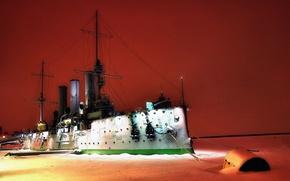 Картинка Зима, Ночь, Река, Лед, Корабль, Аврора, Крейсер, Военный, Бронепалубный крейсер