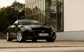 Картинка black, jaguar, coupe, street, f-type