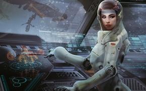 Картинка девушка, космос, будущее, фантастика, интерфейс, рисунок, космонавт, скафандр, арт, future, костюм, space, girl, USSR, СССР, …