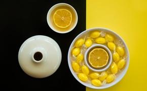 Картинка лимон, чашка, чёрно-жёлтый фон