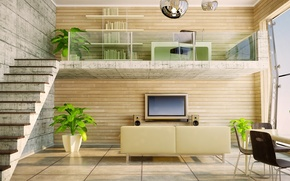 Картинка стол, диван, растения, светлый, телевизор, окно, лестница