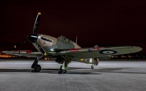 Картинка вечер, истребитель, войны, аэродром, Hawker Hurricane, одноместный, мировой, Второй, времён, XIIA