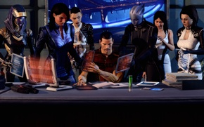 Картинка стол, работа, коллаж, арт, Эшли, Mass Effect 3, Лиара, Джек, Тали, Shepard, Миранда, Шепард и …
