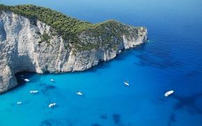 Обои гора, остров, природа, закинф, панорама, обои, греция, яхты, море, парусники, wallpaper, пейзаж