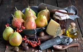 Картинка масло, сыр, мед, фрукты, натюрморт, груши, баночка, Anna Verdina
