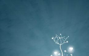 Картинка зима, лучи, снег, деревья, simple, любовь, линии, простота