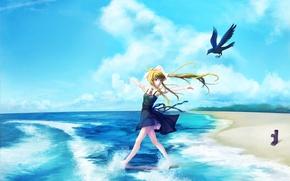 Картинка песок, море, девушка, радость, природа, настроение, птица, art, air, kamio misuzu, nanaya
